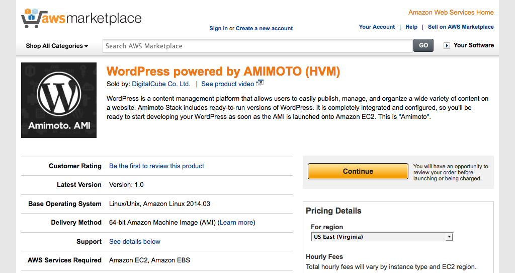 WordPress powered by AMIMOTO (HVM) on AWS Marketplace