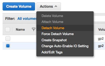 volume の detach